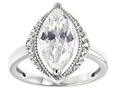 Photo of Pre-Owned 3.48CT FABULITE STRONTIUM TITANATE AND .17CTW ZIRCON RHODIUM OVER SILVER RING - Size 6