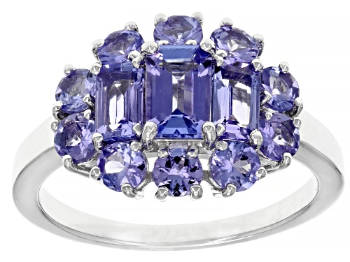 Photo of Pre-Owned 1.99ctw mixed shapes Tanzanite Rhodium Over Sterling Silver Ring - Size 8
