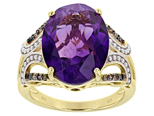 Photo of Pre-Owned 7.23ct African Amethyst with .08ctw Champagne Diamonds 18k Yellow Gold Over Sterling Silve - Size 6