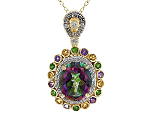 Photo of Pre-Owned 4.96ct Mystic Fire® Topaz, .68ctw Multi-Gem & diamond accent 18k Gold Over Silver Pendant