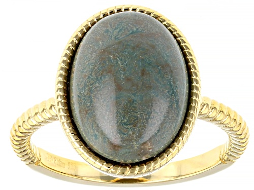 Photo of Pre-Owned  14x10mm Oval Green Kingman Turquoise 18K Yellow Gold Over Silver Ri - Size 8