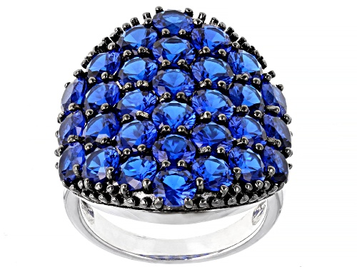 Photo of Pre-Owned 6.89ctw Round Lab Created Blue Spinel Rhodium Over Sterling Silver Cluster Ring - Size 7