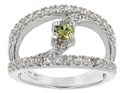 Photo of Pre-Owned .25ct Round Demantoid Garnet With .68ctw Round White Zircon Sterling Silver Ring - Size 7
