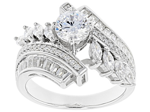 Photo of Pre-Owned Bella Luce® 3.63ctw Rhodium Over Sterling Silver Ring (1.95ctw DEW) - Size 8
