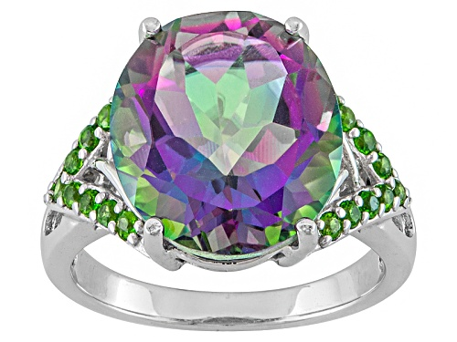 Photo of Pre-Owned 6.18ct Oval Mystic® Green Quartz With .31ctw Round Chrome Diopside Sterling Silver Ring - Size 7