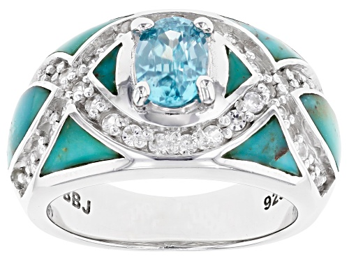 Photo of Pre-Owned 1.07ct Oval blue zircon with turquoise and .68ctw white zircon rhodium over sterling silve - Size 6