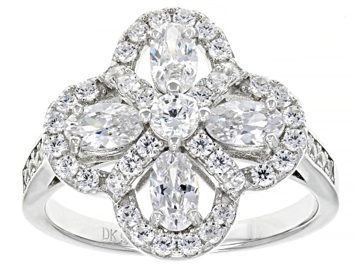Photo of Pre-Owned Bella Luce ® 2.70ctw Rhodium Over Sterling Silver Flower Ring (1.39ctw DEW) - Size 11