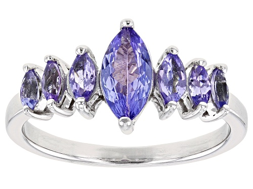 Photo of Pre-Owned S/S 1.33CTW MQ TANZANITE/ RG /RHOD PLTD - Size 8