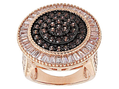Photo of Pre-Owned Bella Luce ® 4.56ctw Mocha And White Diamond Simulants Eterno ™ Rose Ring (2.86ctw Dew) - Size 6