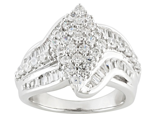 Photo of Pre-Owned Bella Luce ® 3.60ctw Diamond Simulant Round & Baguette Rhodium Over Sterling Ring (2.05ctw - Size 8
