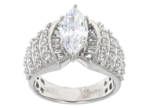 Photo of Pre-Owned Bella Luce ® 5.05ctw Marquise, Round And Baguette Rhodium Over Sterling Silver Ring - Size 9