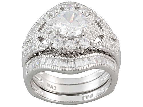 Photo of Pre-Owned Bella Luce ® 3.65ctw Round And Baguette Rhodium Over Sterling Silver Ring With Guard - Size 6