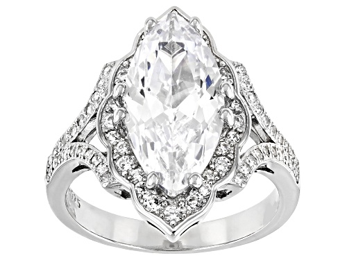 Photo of Pre-Owned Bella Luce ® 7.01ctw Rhodium Over Sterling Silver Ring (4.32ctw DEW) - Size 9
