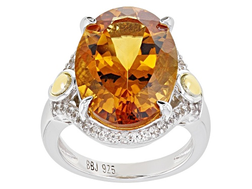 Photo of Pre-Owned 8.92ct Oval Citrine and .51ctw Zircon Rhodium & 18k Gold Over Sterling Silver Ring - Size 8