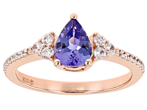 Photo of Pre-Owned 1.03CT Pear Shape Tanzanite with .30CTW Round White Zircon 18k Rose Gold Over Sterling Sil - Size 7