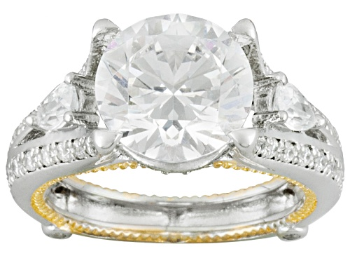 Photo of Pre-Owned Bella Luce ® 7.37ctw Round And Pear, Rhodium Over & 18k Yellow Gold Over Sterling Silver R - Size 10