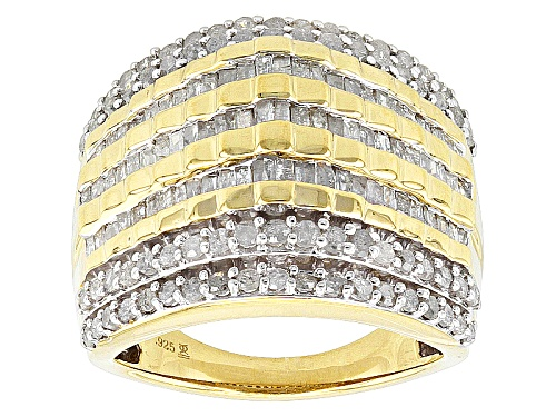 Photo of Pre-Owned Engild™ 2.00ctw Round And Baguette White Diamond 14k Yellow Gold Over Sterling Silver Ring - Size 6