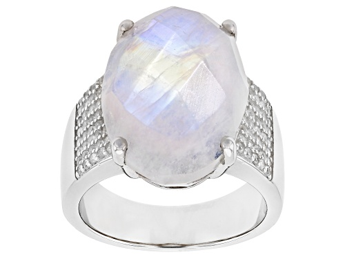 Photo of Pre-Owned 20x16mm Oval White Moonstone With 0.20ctw White Zircon Rhodium Over Sterling Silver Ring - Size 6