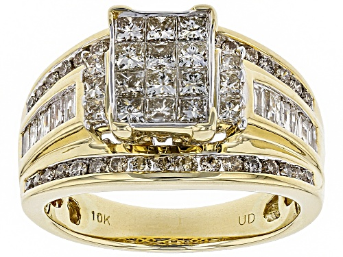 Pre-Owned 1.50ctw Princess Cut, Round And Baguette White Diamond 10k Yellow Gold Ring - Size 7