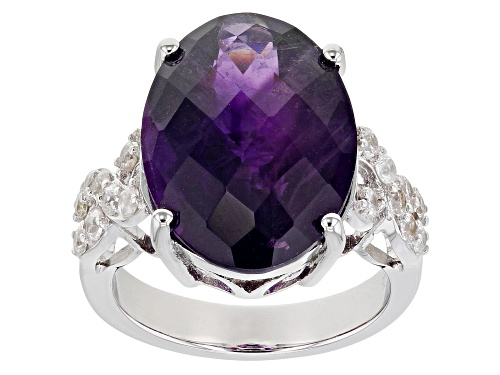 Photo of Pre-Owned 8.00ct Oval Amethyst With 0.65ctw Round White Zircon Rhodium Over Sterling Silver Ring - Size 5