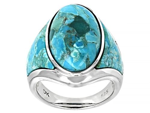 Photo of Pre-Owned Southwest Style By JTV™ Mixed Shapes Turquoise Rhodium Over Silver Ring - Size 6
