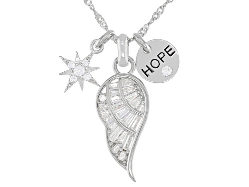 Photo of Pre-Owned Bella Luce ® 1.37ctw Rhodium Over Silver Inspirational Pendant With Chain