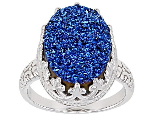 Photo of Pre-Owned  Oval Royal Blue Drusy Quartz Rhodium Over Sterling Silver Ring - Size 8