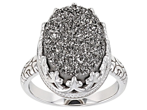 Photo of Pre-Owned Oval Platinum Color Drusy Quartz Rhodium Over Sterling Silver Ring - Size 7