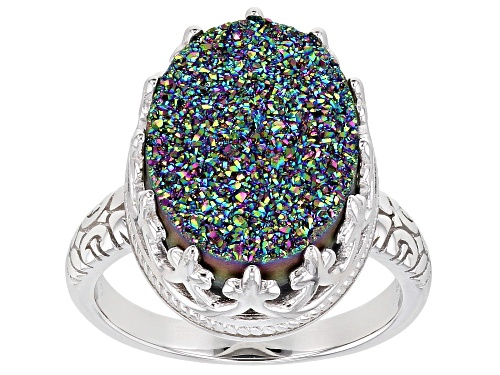 Photo of Pre-Owned  Oval Rainbow Green Drusy Quartz Rhodium Over Sterling Silver Ring - Size 6