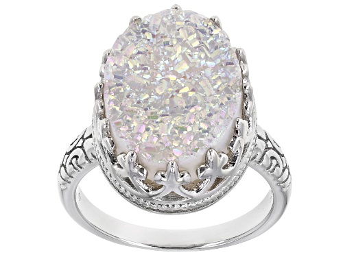 Photo of Pre-Owned  Oval White Drusy Quartz Rhodium Over Sterling Silver Ring - Size 7