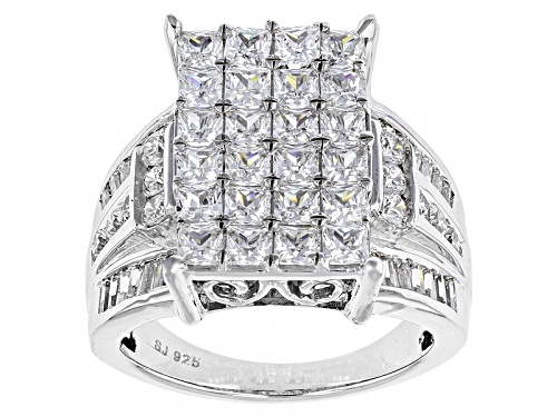 Photo of Pre-Owned Bella Luce ® 5.57ctw Diamond Simulant Rhodium Over Sterling Silver Ring (4.02ctw Dew) - Size 12