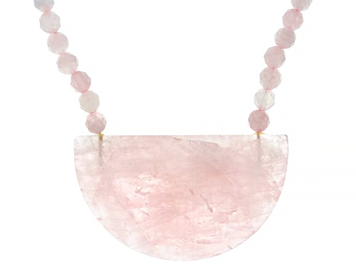 Photo of Pre-Owned Free-Form and Round Rose Quartz Bead 18k Rose Gold Over Sterling Silver Necklace - Size 18