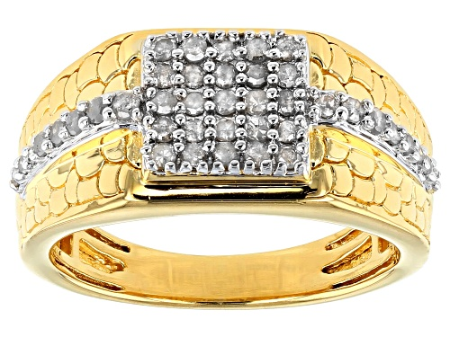 Photo of Pre-Owned Englid™ .58ctw Round White Diamond 14K Yellow Gold Over Sterling Silver Mens Cluster Ring - Size 9
