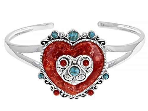 Photo of Pre-Owned Global Destinations™ Red Sponge Coral And Turquoise Sterling Silver Heart Design Cuff Brac - Size 8