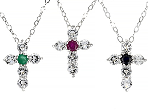 Photo of Pre-Owned .36ctw Sapphire, Ruby & Emerald with .39ctw White Topaz Rhodium Over Silver Pendant W/Chai
