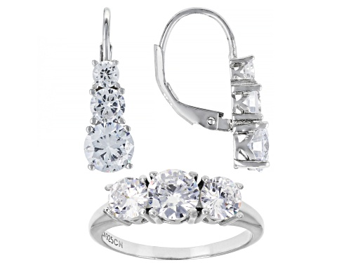 Photo of Pre-Owned Bella Luce ® Rhodium Over Sterling Silver Ring And Earrings Set