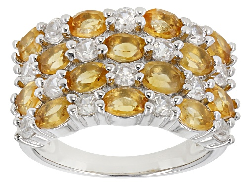 Photo of Pre-Owned 2.05ctw Madiera Citrine with 1.10ctw White Zircon Rhodium Over Sterling Silver Ring - Size 8