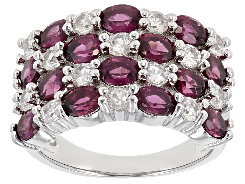 Photo of Pre-Owned 2.15ctw Raspberry Rhodolite with 1.30ctw White Zircon Rhodium Over Sterling Silver Ring - Size 7