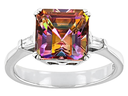 Photo of Pre-Owned 2.00ct Asscher Cut Northern Lights™ Quartz w/ .15ctw White Zircon Rhodium Over Sterling Si - Size 8