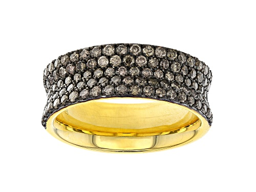 Photo of Pre-Owned 1.29ctw Round Champagne Diamond 14k Yellow Gold Over Sterling Silver Wide Band Ring - Size 7
