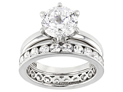 Photo of Pre-Owned Bella Luce ® 5.47ctw Platinum Over Sterling Silver Ring With Band - Size 7