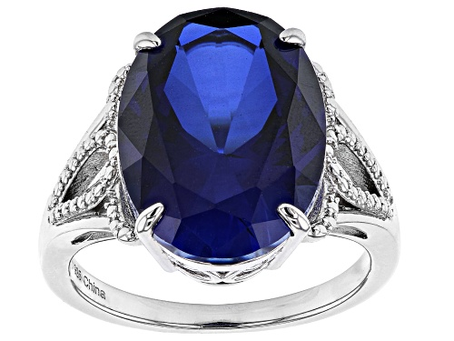 Photo of Pre-Owned 10.00ctw 16x12mm Oval Lab Created Blue Sapphire Rhodium Over Sterling Silver Ring - Size 8