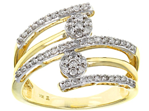 Photo of Pre-Owned 0.50ctw Round White Diamond 10k Yellow Gold Bypass Ring - Size 8