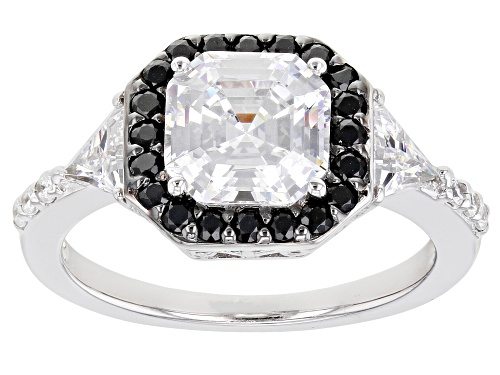 Photo of Pre-Owned Bella Luce ® 2.91 CTW Black And White Diamond Simulants Rhodium Over Sterling Silver Ring - Size 5
