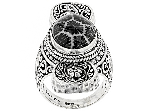 Photo of Pre-Owned Artisan Collection of Bali™ Oval Black Indonesian Coral Silver Solitaire Ring - Size 8