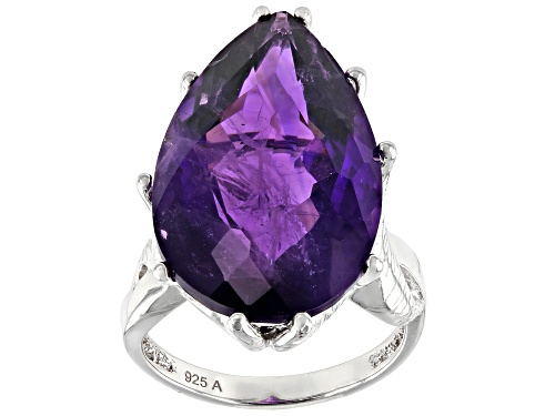 Photo of Pre-Owned 17.00ct Pear African Amethyst Rhodium Over Sterling Silver Ring - Size 8
