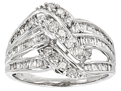Photo of Pre-Owned 1.00ctw Round And Baguette White Diamond 10k White Gold Ring - Size 6
