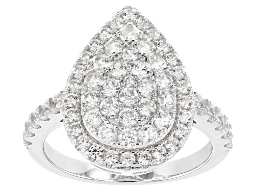 Photo of Pre-Owned 2.10ctw Round White Zircon Rhodium Over Sterling Silver Ring - Size 7