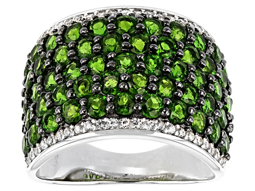 Photo of Pre-Owned 4.25ctw Russian Chrome Diopside With .30ctw White Zircon Rhodium Over Sterling Silver Band - Size 6