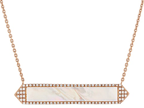 Photo of Pre-Owned 38x6mm White Mother-Of-Pearl & Bella Luce® Diamond Simulant 18k Rose Gold Over Silver Neck - Size 18
